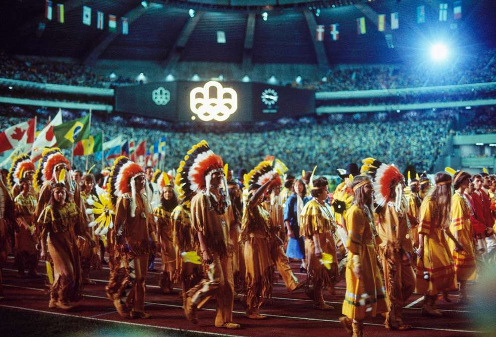 Montreal 1976 OG, Closing Ceremony - Parade of Amerindians (Native Americans).