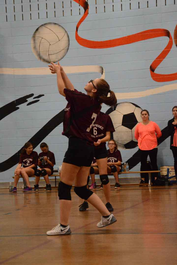 Aislin Marquis showed a marked improvement over the season, as the graduating Survival student played for her school for the first time on the volleyball team. (Daniel J. Rowe, The Eastern Door)
