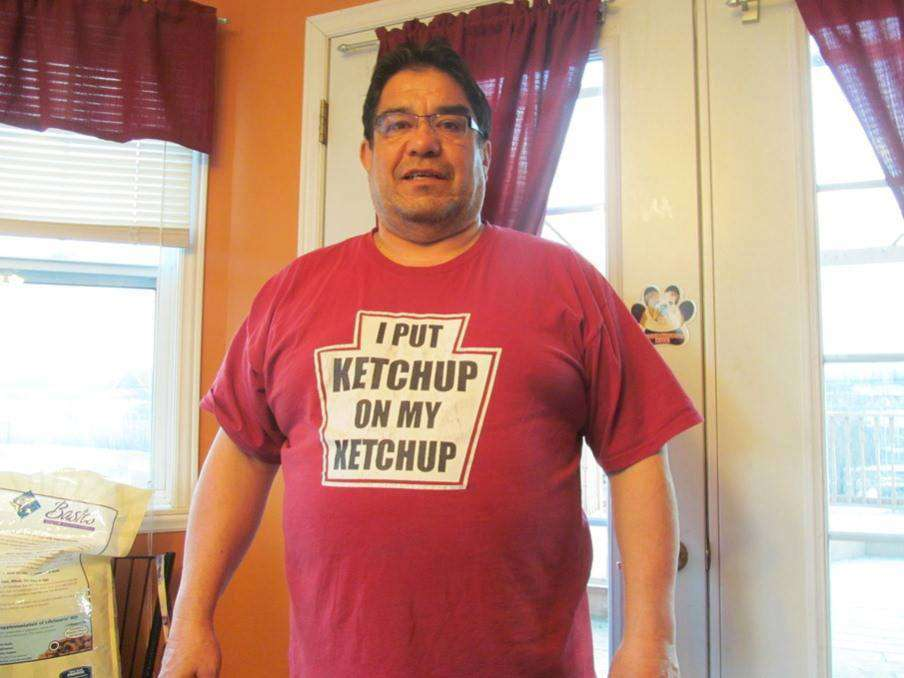 Timmy Norton likes ketchup on just about everything he eats, including meat pie during the holidays. (Courtesy Timmy Norton)