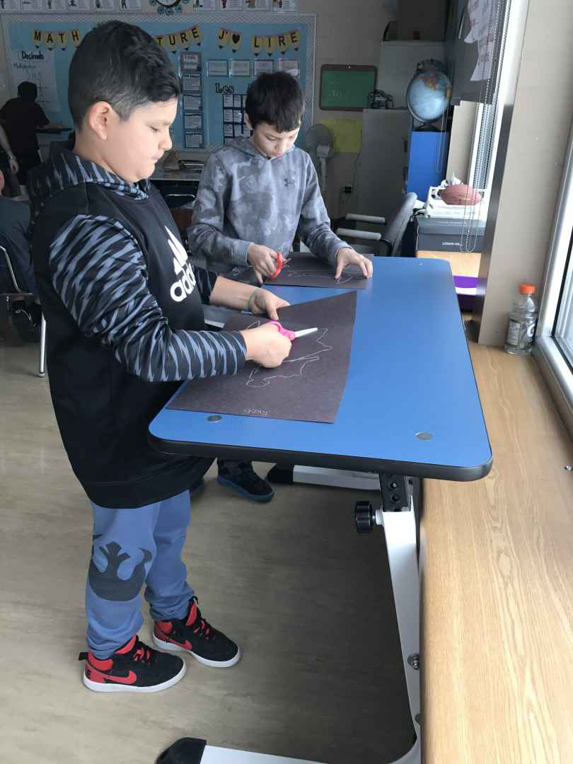 Jacob Condo, and Onwenteshon Deer were using the standing desk when The Eastern Door stopped by their grade five French immersion classroom.