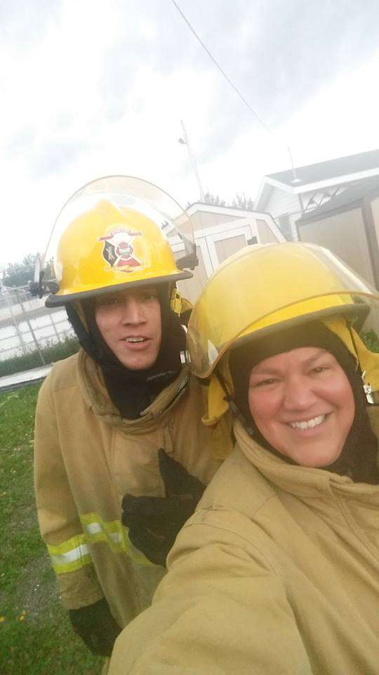 Mother-son duo Donna and Tyrone Metallic were among the dozen students from Listuguj and Gesgapegiag to receive training by Kahnawake Fire Brigade instructors. (Courtesy Donna Metallic)