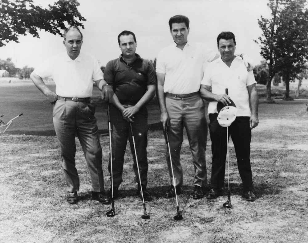 Nick Besner, Angus Patton, Louis Beauvais and George Cross made up a typical foursome of local and non-local golfers. (Courtesy Jimmy Patton)