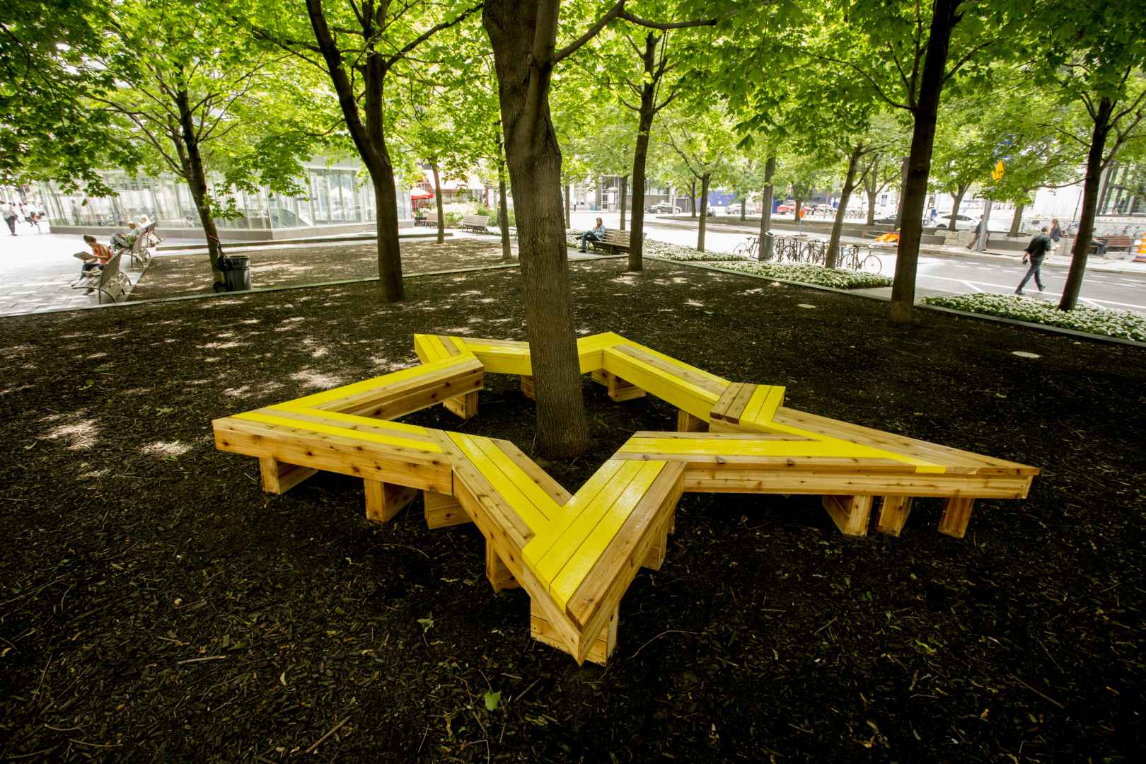 KA-POW! by Maria Hupfield can be seen behind Square-Victoria metro. (Courtesy Sébastien Roy)