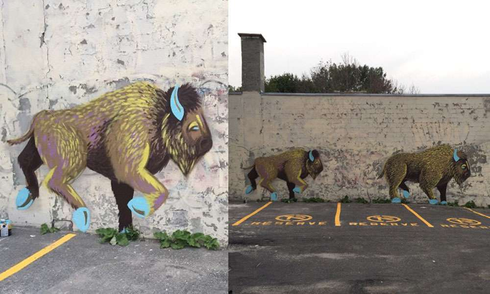 Jessica Canard and Dayna Danger's buffalo mural is located on Sainte-Marguerite near Notre-Dame Ouest. (Courtesy Jessica Canard)