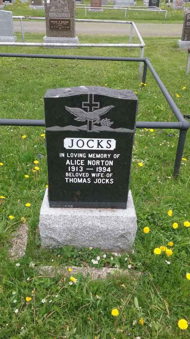 Alice Norton Jocks Headstone
