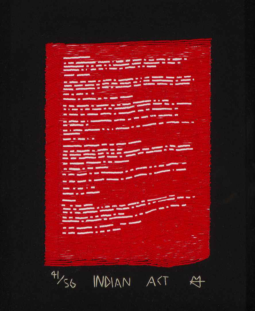 Nadia Myre (born in 1974), Indian Act, 2000-2002, glass beads, copy of page 41 of the Indian Act, adhesive tape, thread, felt. MMFA, gift of Stéphane Cauchies. (Courtesy MMFA, Christine Guest )
