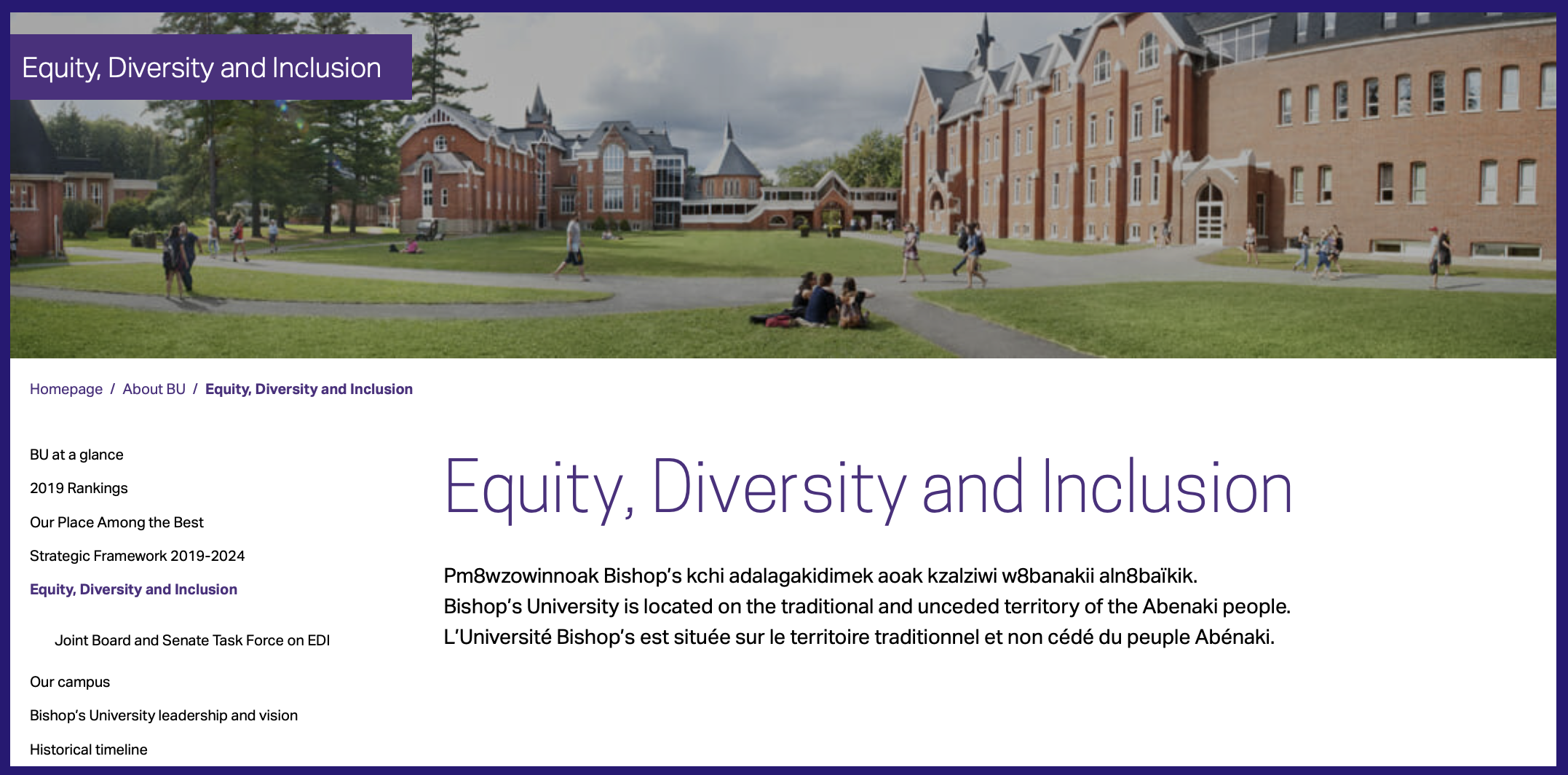 Screenshot of Bishop's University land acknowledgement as it appears on their Equity, Diversity and Inclusion webpage